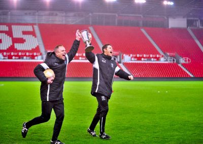 Neil Kitching & Nick Amos celebrate Staffs Senior Cup win 2018