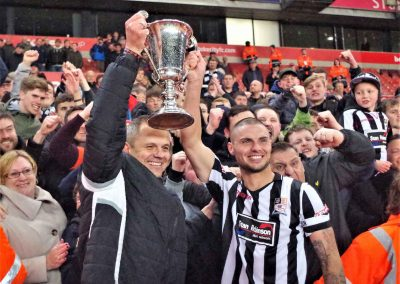 Neil Kitching, Josh Craddock and fans celebrate cup final win 2018